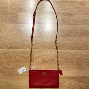Coach Quinn Red Leather Crossbody Purse NWT